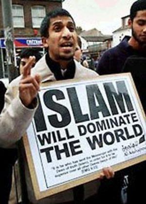 """Акция исламистов в Лондоне.На плакате написано: """"Ислам будет преобладать"""""""