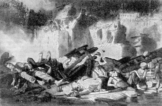 силенный рост крупного, торгового и финансового капитала сопровождался увеличением численности рабочего класса, который проявил себя в лионских восстаниях 1831-го и 1834 годов и в парижском восстании 1832 года. Эти восстания произвели большое впечатление на молодого ремесленника Прудона. Подавление восстания в Лионе в апреле 1834 г. Рисунок Ф. О. Жанрона