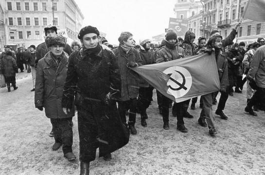 Дмитрий Жвания не принимал личного участия в акциях НБП, писали Лурье и Гаврилов. Февраль 1997 года. Петербургские национал-большевики на марше против понижения уровня жизни населения, организованном профсоюзами