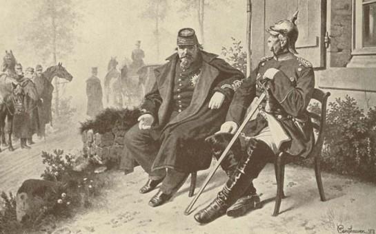 Луи Наполеон в плену в Отто фон Бисмарка после поражения под Седаном 1 сентября 1870 года
