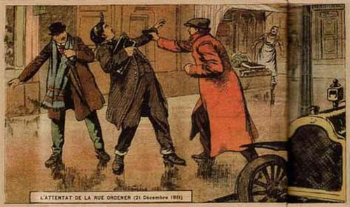 21 декабря 1911 года в 8.45 инкассатор Каби вышел из трамвая и направился в банк. Единственная мера безопасности заключалась в том, что на остановке его встречал напарник. Метрах в десяти от дверей грабитель двумя пулями в упор искалечил Каби и овладел его сумками