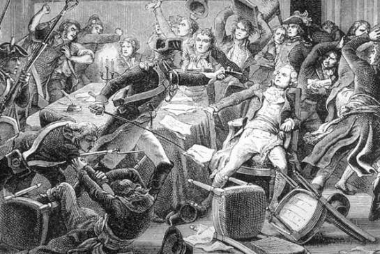 9 термидора (27 июля 1794 года) умеренные якобинцы отстранили от власти Максимилиана Робеспьера, Луи Антуана Сен-Жюста, Жоржа Кутона, а потом казнили их