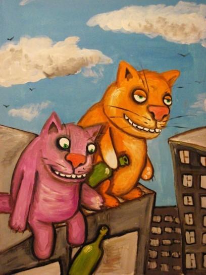 """На окраине Москвы частенько можно встретить очередного вчерашнего менеджера или администратора, который теперь по каким-то причинам желает устроиться продавцом или же грузчиком. Картина Васи Ложкина """"Коты-декаденты"""""""