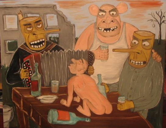 """Разрушенные заводы, измученные лица стариков, дети, проводящие время в уличных разборках, всё время спешащие куда-то обыватели – вот она, безыскусная повседневность как она есть. Картина Васи Ложкина """"Рашн деревяшн"""""""