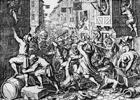 Особый статус евреев в традиционном европейском средневековом обществе был обусловлен конфликтом иудаизма с христианством. На гравюре - еврейский погром в средневековом городе