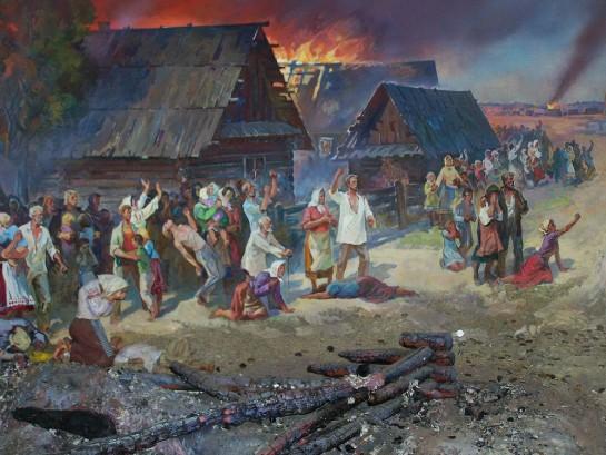 13 июля 1943 года в 3 часа утра немецкие каратели начали операцию по уничтожению села Копище. Людей выгоняли из домов, закрывали в сараях и поджигали. В огне, мученической смертью погибло 2887 человек… из них — 1347 — дети до 12 лет! Все дома были сожжены дотла