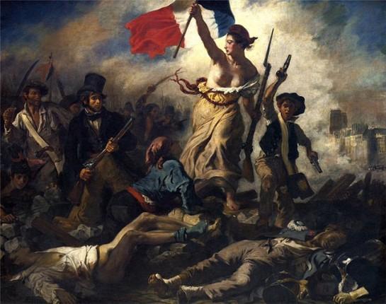 Именно женщина на картине Делакруа держит флаг революции и ведёт людей на баррикады. Не ней нет униформы, её груди обнажены, на её прекрасном лице нет следов насилия. Но в её руке ружьё — ибо конец насилия можно приблизить только в борьбе
