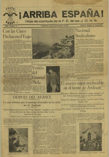 """""""¡Arriba España!"""" («Воспрянь, Испания!») - клич и название газеты """"Испанской Фаланги - Хунты национал-синдикалистского наступления"""""""