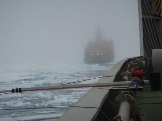 На улице — сплошной туман, слившийся со снежной пеленой и ледяной моросью. На палубе — мокрые лужи, напоминающие наш Питер в оттепель ранним мартом