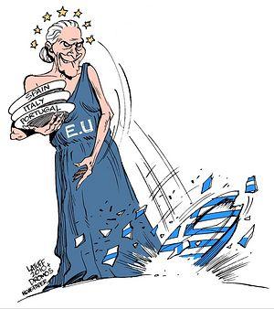 Греческая карикатура на политику ЕС
