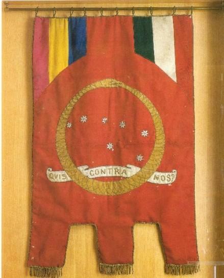 Государственный флаг Республики Фиуме  — на пурпурном фоне созвездие Большой Медведицы, окольцованное змеем Уроборосом, символом вечности