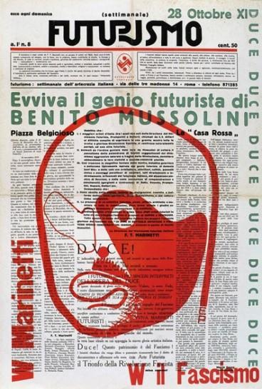 «Приход к власти фашизма означает реализацию футуристической программы-минимум, — объяснял Маринетти. — Пророки и предшественники великой Италии сегодняшнего дня, футуристы, счастливы приветствовать в лице нашего, ещё не достигшего сорока лет, премьера замечательную футуристическую фигуру»