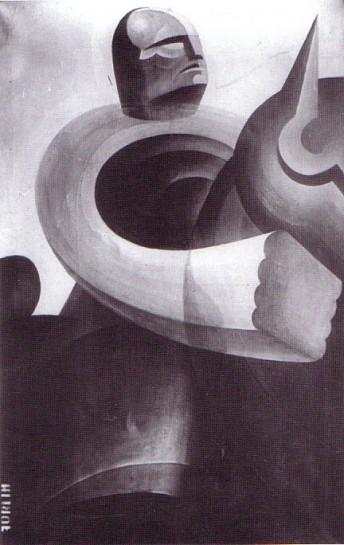 В картинах Коррадо Форлина Бенито Муссолини изображён как человек-машина