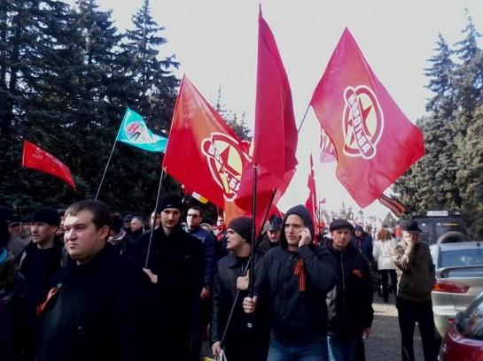 """Активисты """"Боротьбы"""" на антимайдановском шествии в Одессе 16 марта"""