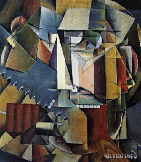 Начало войны Иван Клюн связывал с воздействием искусства футуристов, с футуристическим прославлением стали, железа, динамики вещей и духа, безумия, катастрофы, взрыва и их динамического смысла / И. Клюн.  Автопортрет с пилой