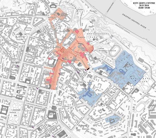 На карте Киева указаны места, где 18-21 февраля разворачивались городские сражения
