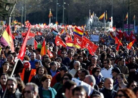 В рамках «Марша достоинства» в испанскую столицу 22 марта прибыли несколько десятков тысяч человек со всей страны