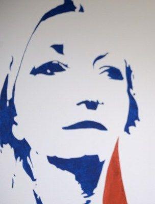Портрет Марин Лё Пен, стилизованный под изображение Марианны - символа Франции