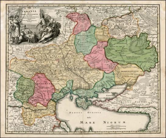 """Карта Украины 1720 года. На Востоке эта славянская страна граничила с """"малой Татарией"""""""