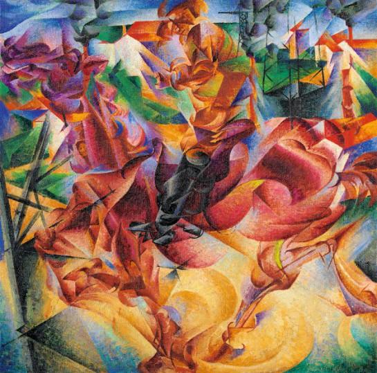 Картина Филиппо Томмазо Маринетти, которая была представлена на выставке футуристов в Музее Гуггенхайма в Нью-Йорке