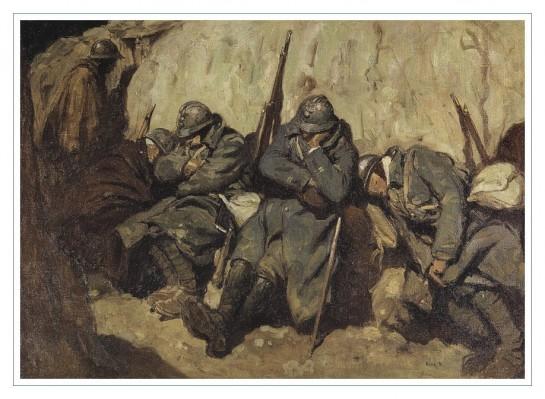 Сон французских солдат в траншее. Первая мировая война / Художник и военный корреспондент - Georges Bertin Scott