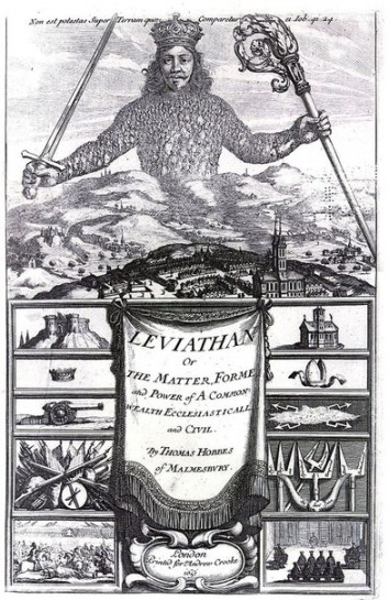 Левиафан — имя библейского чудовища, изображённого как сила природы, принижающая человека. Томас Гоббс использует этот образ для описания могущественного государства («смертного Бога»)
