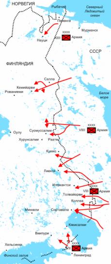 Схема наступления частей Красной армии в декабре 1939 года