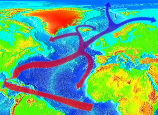 Схема переноса тепла течением Гольфстрим