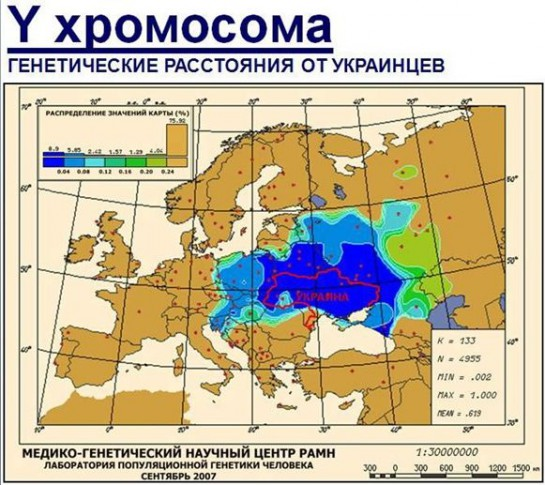 Зато здесь очень чётко выделены этнические границы Украины на востоке, с точностью до 10% совпадающие с черноморским бассейном речного стока Дона, Воронежа, Хопра