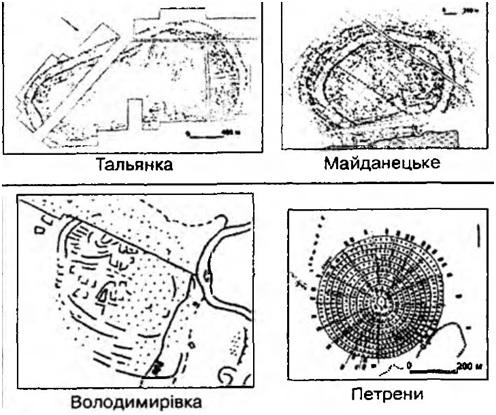 Схема из книги Н. Б. Бурдо, М. Ю. Відейко «Трипільська Культура. Спогади про золотий вік» возраст этих городов 5600-5200 лет