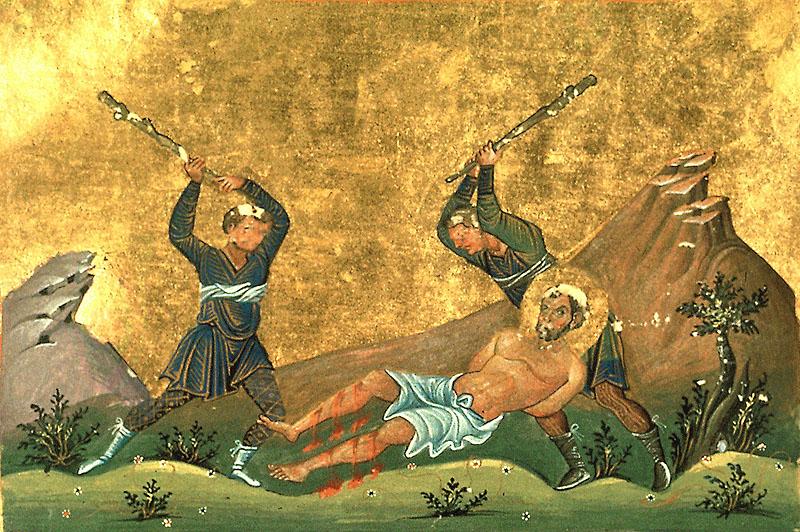 Христианство превозносит не сами страдания, а победу, торжество над ними / На иконе - пытки святого Онисима слугами Тертуллия