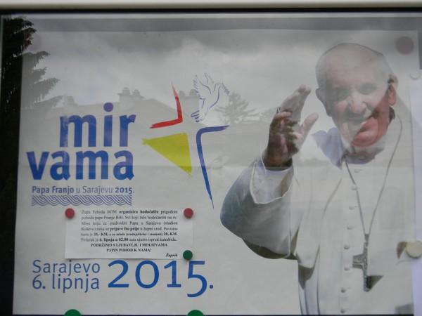 6 июня 2015 года Папа Римский Франциск приехал в Сараево, чтобы смягчить противоречия между сербским, хорватским и мусульманским сообществами
