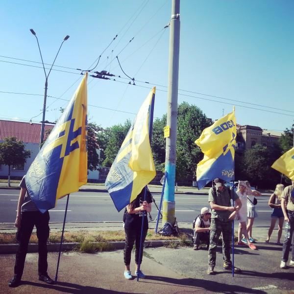 Акция солидарности с русскими политзаключёнными, организованная Гражданским корпусом полка «Азов», состоялась возле стен посольства РФ в Киеве 25 июля