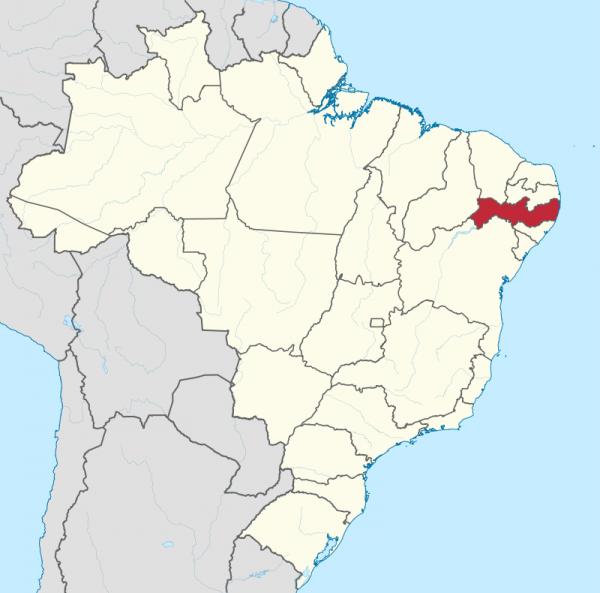 Штат Пернамбуку на карте Бразилии