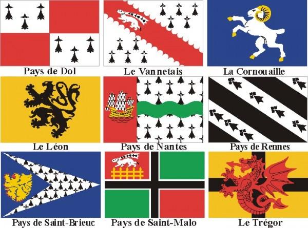 """""""Бретонский народ имеет свою длинную историю и собственную судьбу. В реальности, мы являемся частью французской нации, но особенной, специфической частью, что, к сожалению, не признавалось Французской Республикой""""/ Гербы провинций Бретани"""