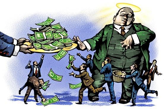 Либеральная теория «просачивания богатства» сверху вниз в тучной путинской России действительно работала!