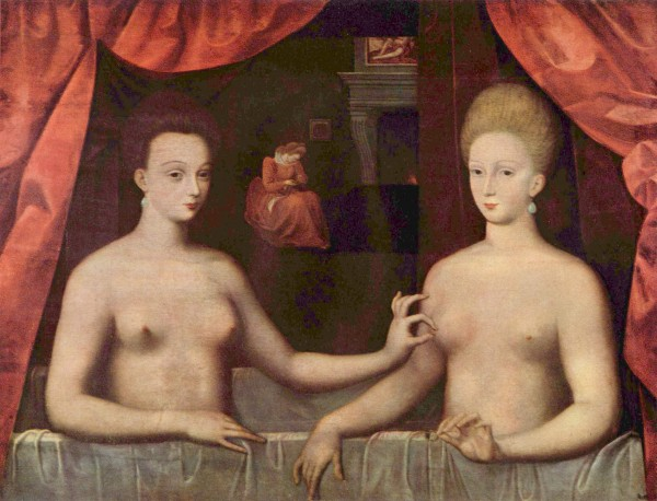 """Картина неизвестного художника """"Габриэла д' Эстре принимает ванну с сестрой"""" действительно загадочна"""