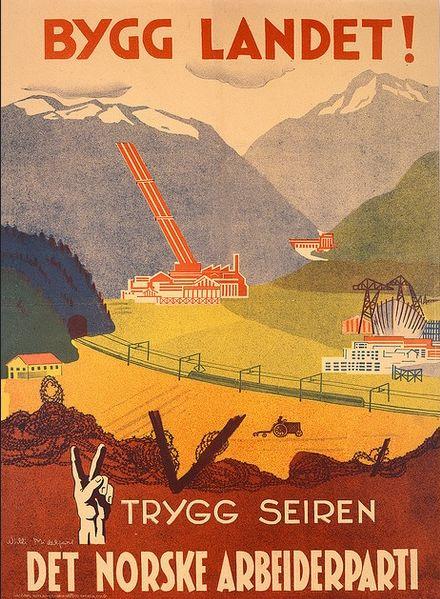 в программе норвежской социал-демократии 1949 года содержится заявление, что социализм нужно строить не просто постепенно, но и «в соответствии с традициями народного правления в Норвегии». Таким образом, мы видим, что послевоенный норвежский реформизм приобретал национальные черты, напоминая в этом смысле русское реформистское народничество