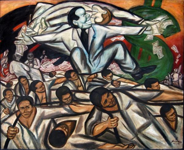 """Ликвидация компрадорского капитала позволит существенно снизить сопротивление противников новой индустриализации, так как это подорвёт под ними экономическую базу / Картина Пабло Баэн Сантоса  """"Компрадор"""" (1978)"""