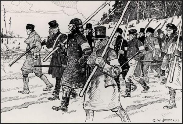 Франко-канадское Восстание патриотов подавляли регулярные британские войска. Восстание Верхней Канады — формирования типа нынешнего «антимайдана» — милиция: законопослушные фермеры, лавочники и клерки. Преданные короне, озабоченные порядком и собственностью, почтительные к «Семейному пакту»