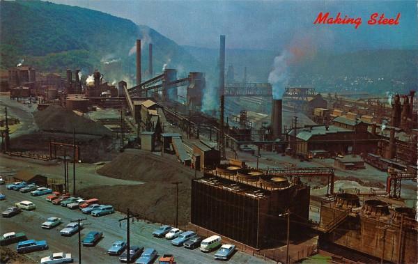 """Комбинат компании """"Бетлехем Стил"""" в Джонстауне ( Пенсильвания) Из-за своего внутриконтинентального положения в подверженной разрушительным наводнениям угольной котловине, оказался убыточным и был полностью закрыт в начале 1990-х"""