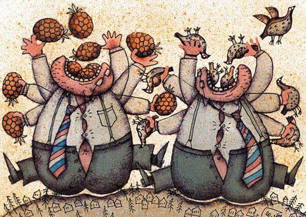 """«Наш буржуй», пишет Успенский, «пьёт, и не то что пьёт, а, говоря собственными словами нашего буржуя, жрёт он и пиво, и шампанское, и «душит водку», и квасом от всего этого пойла отпивается, и потом опять жрёт, что попадётся под руку на заставленном бутылками столе трактирного кабинета"""""""