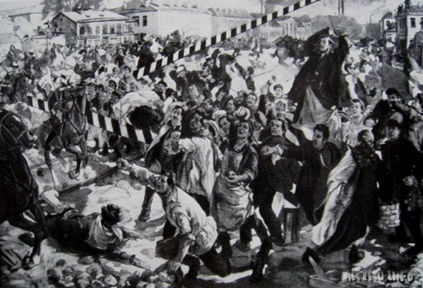 По толпе пробежала молва: «Казаки едут!». «Надо принять гостей, если не с хлебом и с солью, то с каменной болью!», — скомандовал Гаврилов, войдя в раж