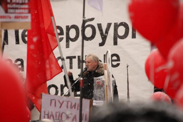 Сергей Миронов выступает на митинге за честные выборы 26 февраля 2012 года в Петербурге