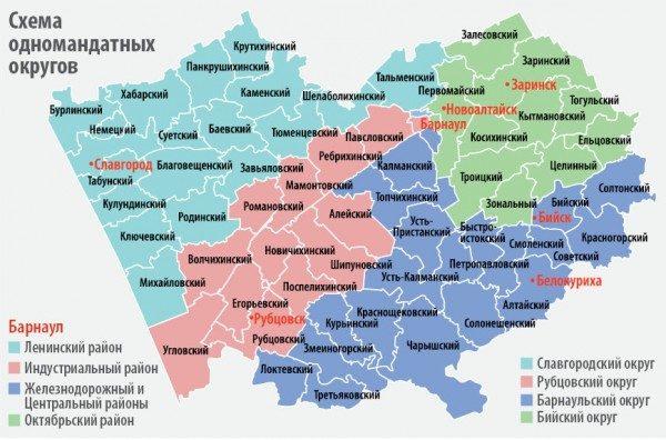 После перенарезки округов в 2016 году Барнаульского избирательного округа не существует. Территория города разделена между четырьмя округами, большая часть которых находится в сельской местности